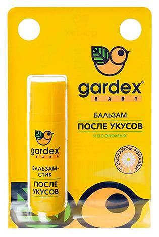 На фото показан пример бальзама, применяемого после укусов насекомых - Gardex Baby
