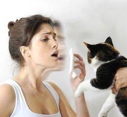 Девушка чихает от кошки