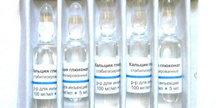 Ампулы с глюконатом кальция