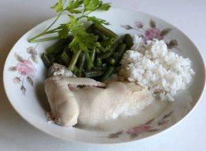 Рис с курицей и зеленой фасолью